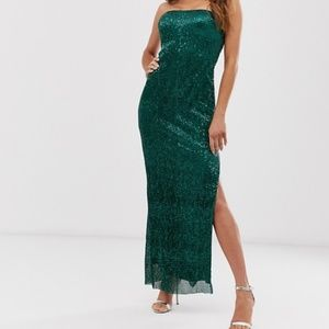 💚Club L London plisse sequin split maxi dress XS